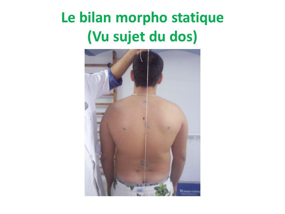 Le bilan morpho statique (Vu sujet du dos)