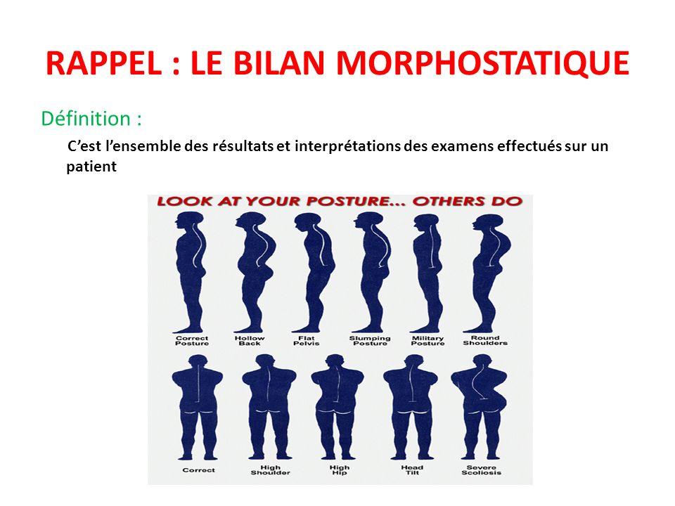 RAPPEL : LE BILAN MORPHOSTATIQUE