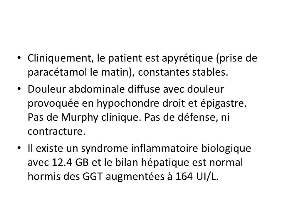 Cliniquement, le patient est apyrétique (prise de paracétamol le matin), constantes stables.
