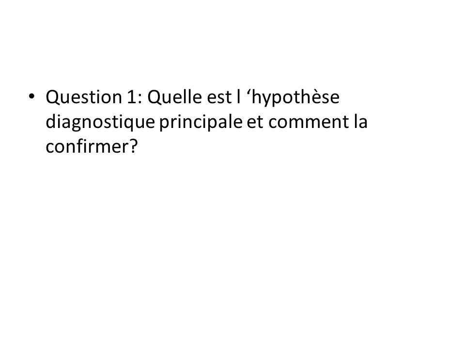 Question 1: Quelle est l 'hypothèse diagnostique principale et comment la confirmer