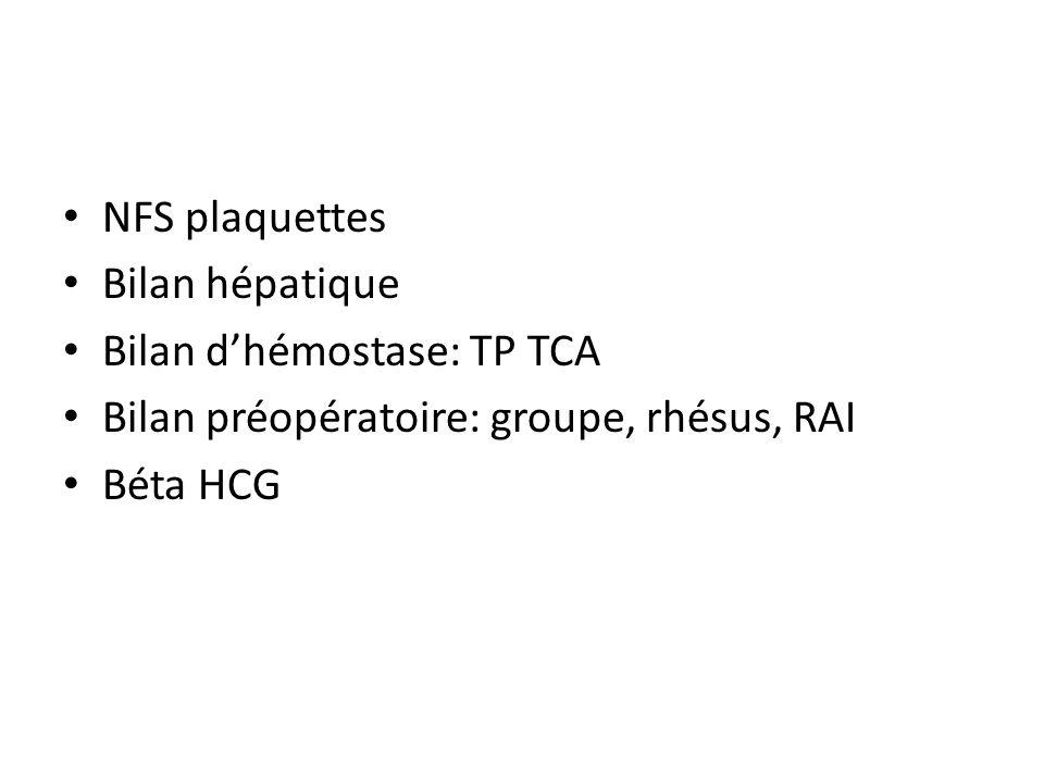 NFS plaquettes Bilan hépatique. Bilan d'hémostase: TP TCA. Bilan préopératoire: groupe, rhésus, RAI.