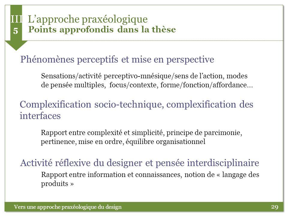 III L'approche praxéologique 5 Points approfondis dans la thèse