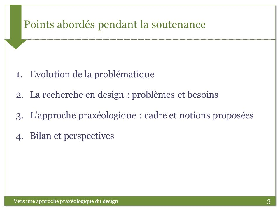 Points abordés pendant la soutenance
