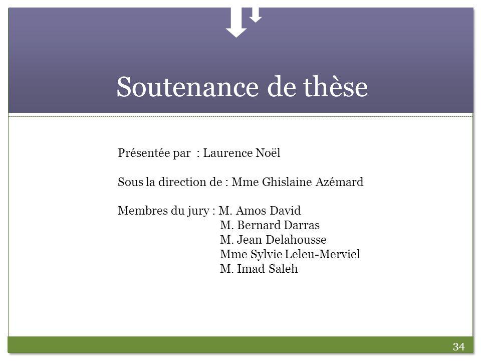 Soutenance de thèse Présentée par : Laurence Noël