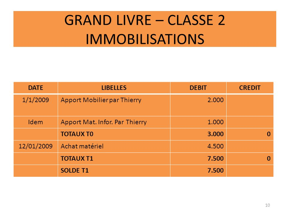 GRAND LIVRE – CLASSE 2 IMMOBILISATIONS