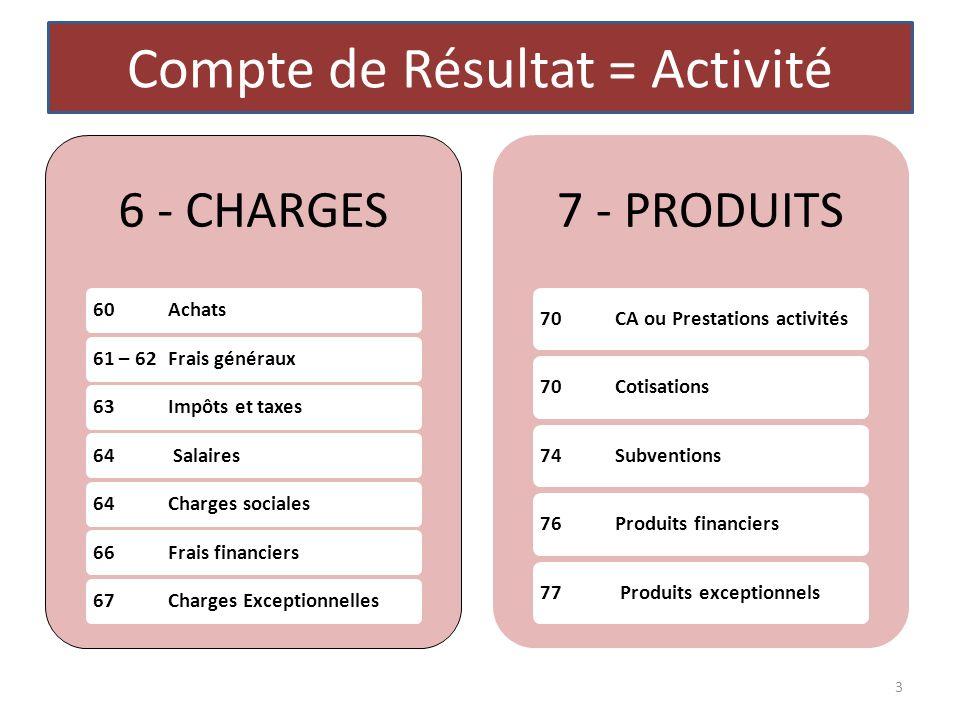 Compte de Résultat = Activité