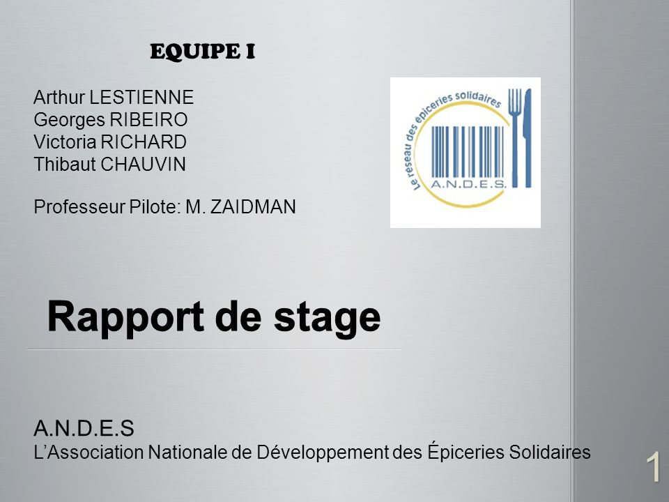 Rapport de stage EQUIPE I