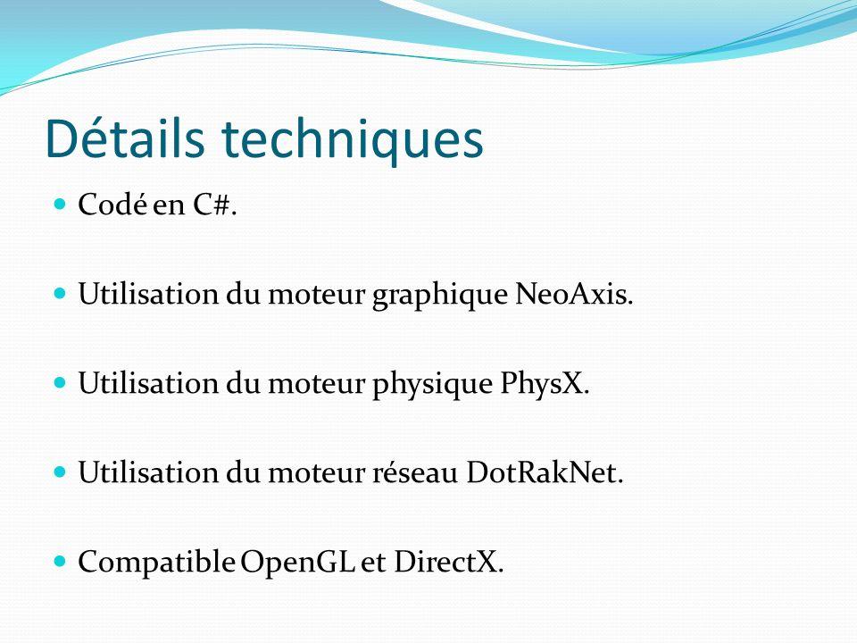 Détails techniques Codé en C#.