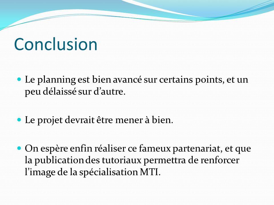 Conclusion Le planning est bien avancé sur certains points, et un peu délaissé sur d'autre. Le projet devrait être mener à bien.
