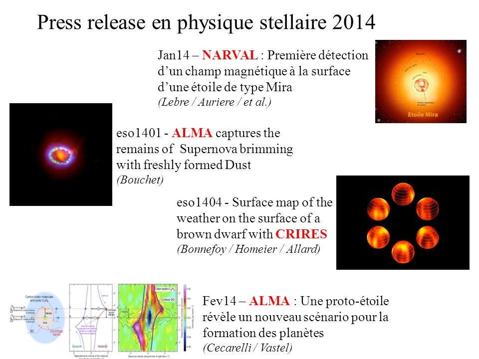 Press release en physique stellaire 2014