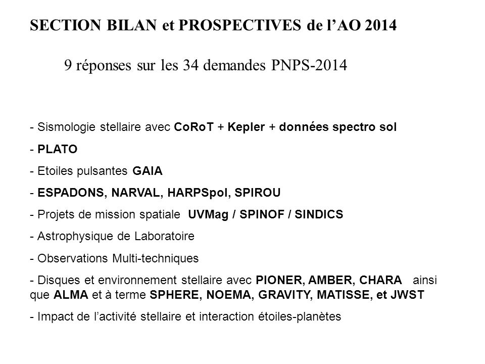 SECTION BILAN et PROSPECTIVES de l'AO 2014