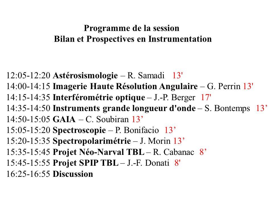 Programme de la session Bilan et Prospectives en Instrumentation