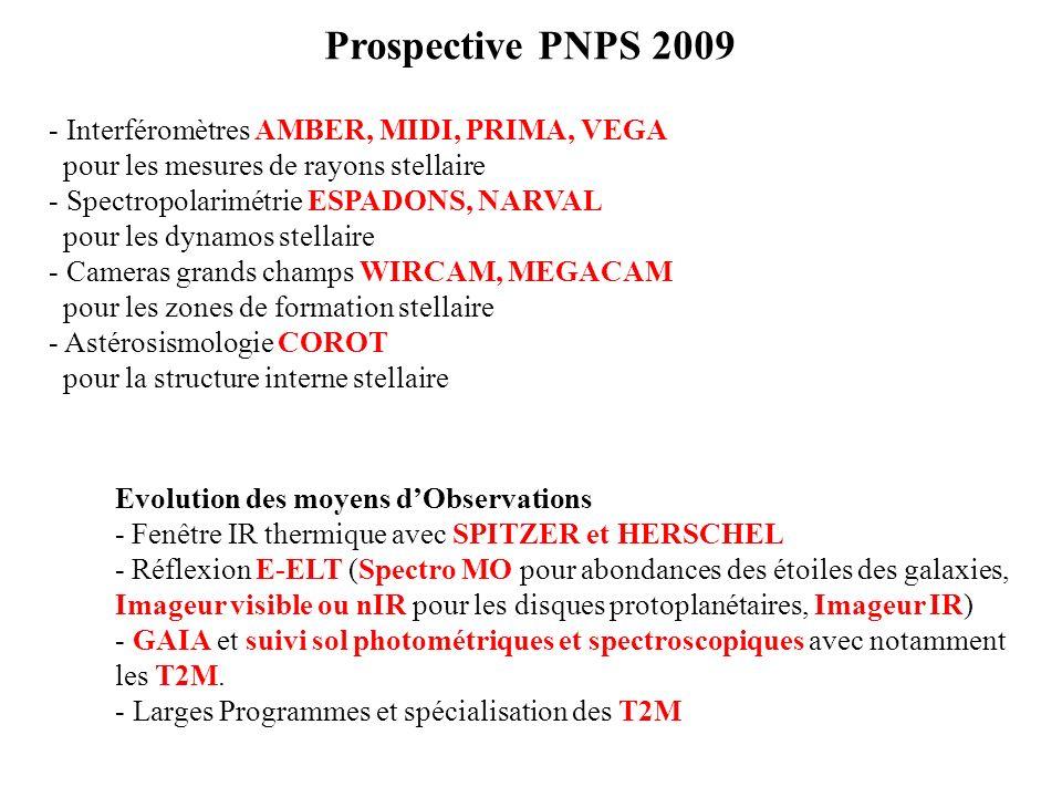 Prospective PNPS 2009 Interféromètres AMBER, MIDI, PRIMA, VEGA