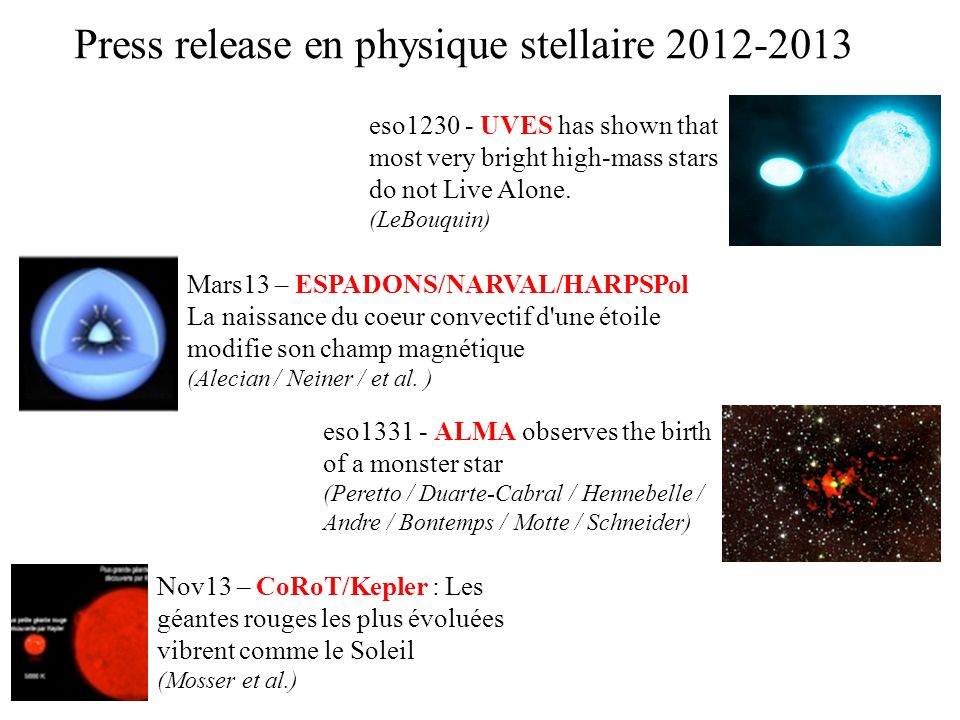 Press release en physique stellaire 2012-2013
