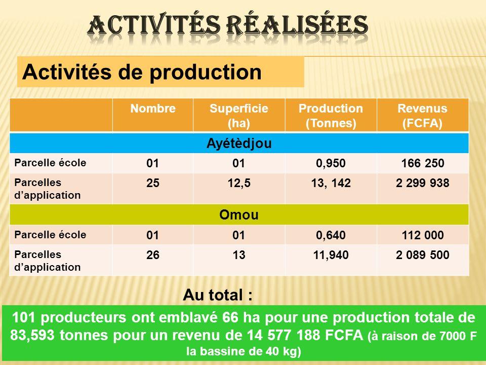 Activités réalisées Activités de production Au total :
