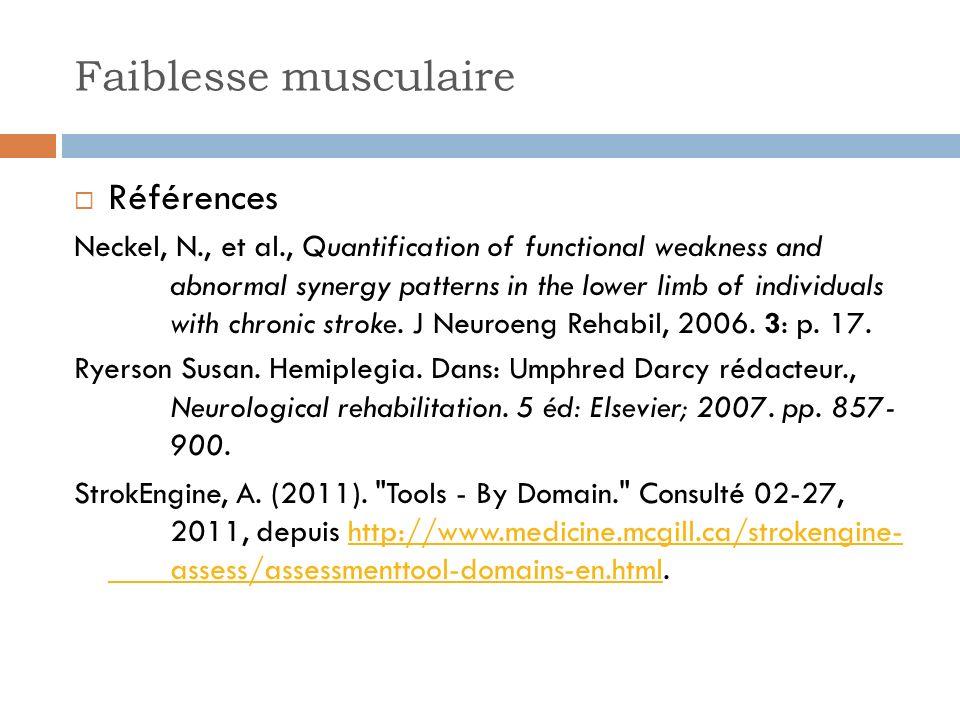 Faiblesse musculaire Références