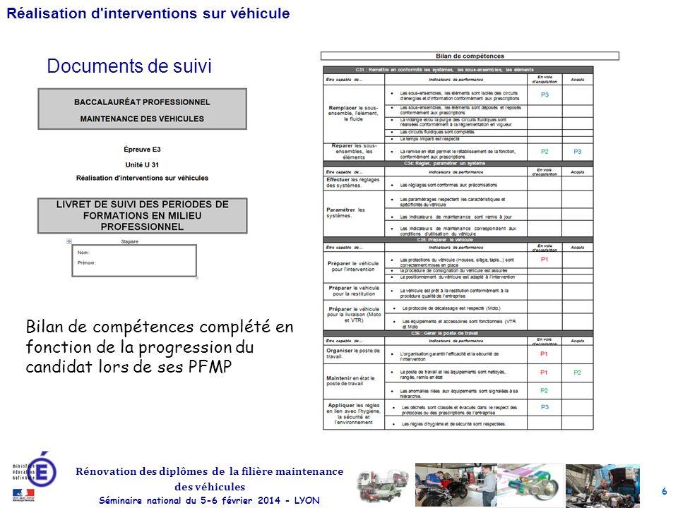 Documents de suivi Bilan de compétences complété en fonction de la progression du candidat lors de ses PFMP.