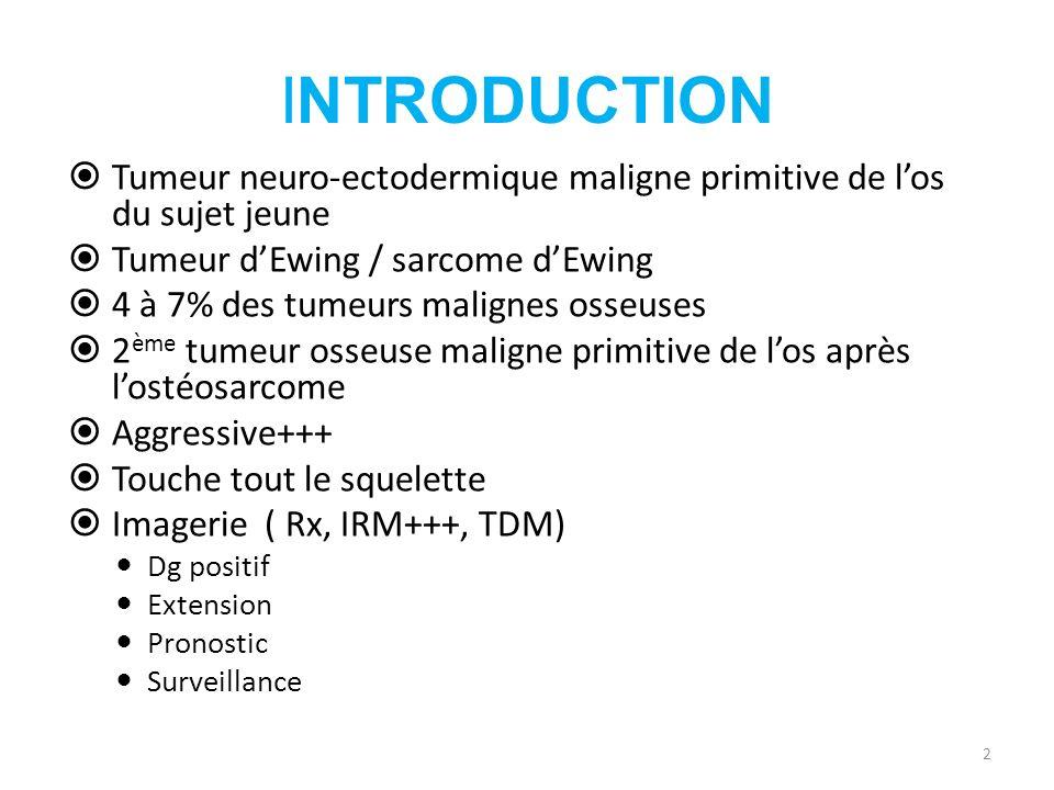 INTRODUCTION Tumeur neuro-ectodermique maligne primitive de l'os du sujet jeune. Tumeur d'Ewing / sarcome d'Ewing.