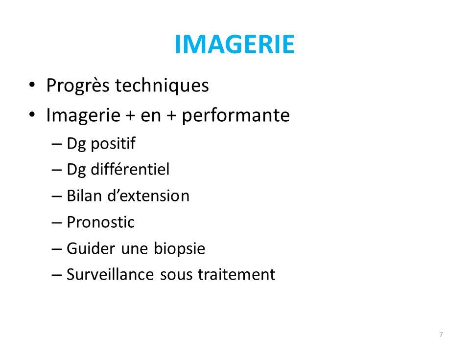 IMAGERIE Progrès techniques Imagerie + en + performante Dg positif