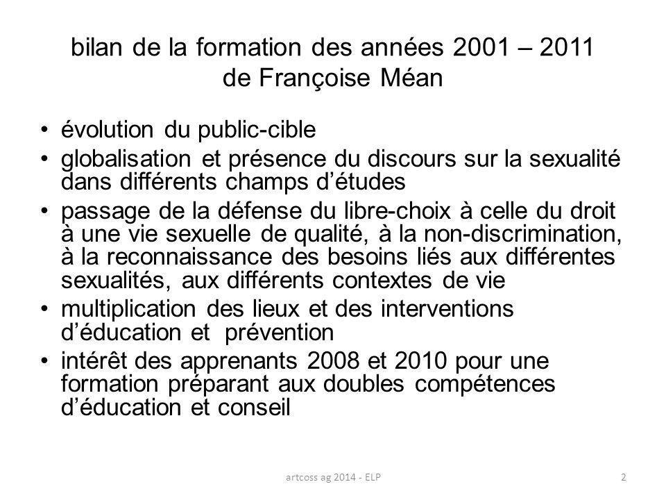 bilan de la formation des années 2001 – 2011 de Françoise Méan