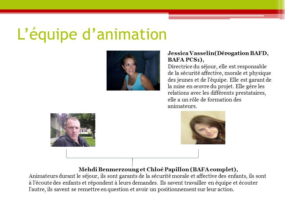 L'équipe d'animation Jessica Vasselin(Dérogation BAFD, BAFA PCS1),