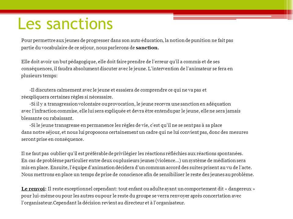 Les sanctions Pour permettre aux jeunes de progresser dans son auto éducation, la notion de punition ne fait pas.