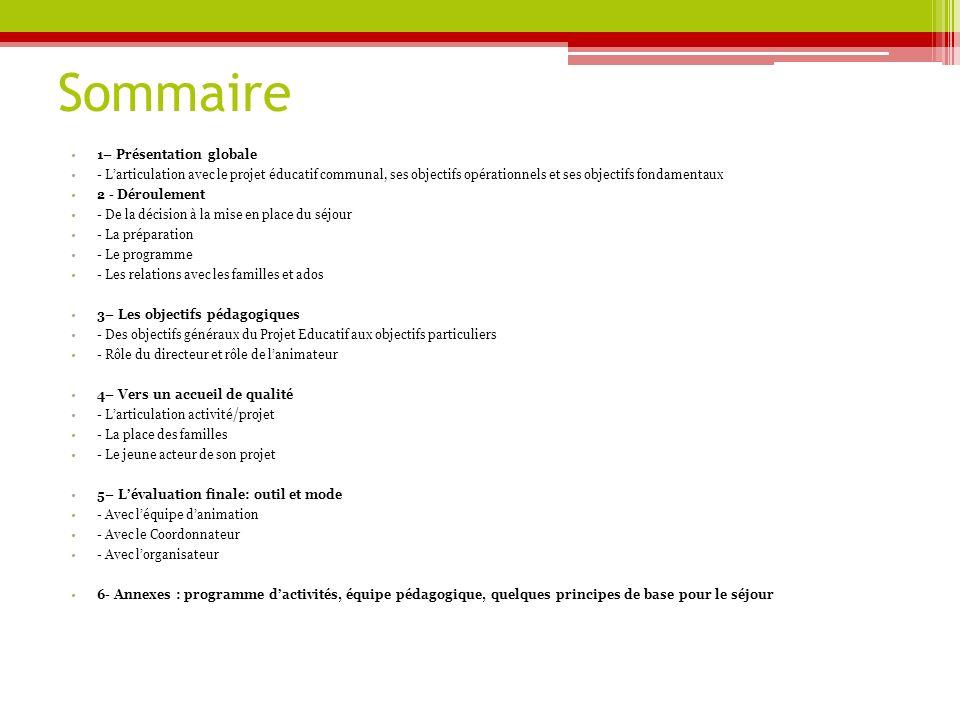 Sommaire 1– Présentation globale