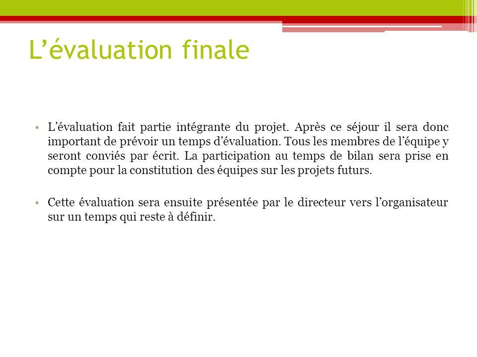 L'évaluation finale