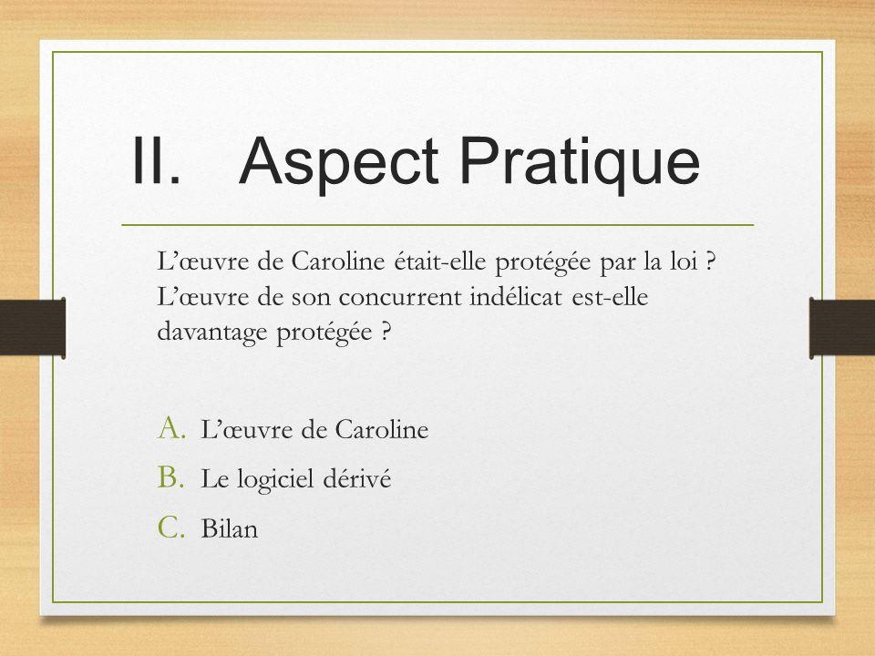 Aspect Pratique L'œuvre de Caroline était-elle protégée par la loi L'œuvre de son concurrent indélicat est-elle davantage protégée