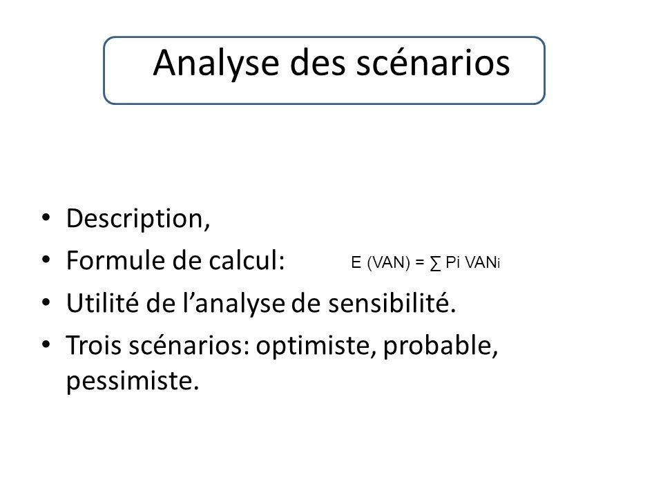 Analyse des scénarios Description, Formule de calcul: