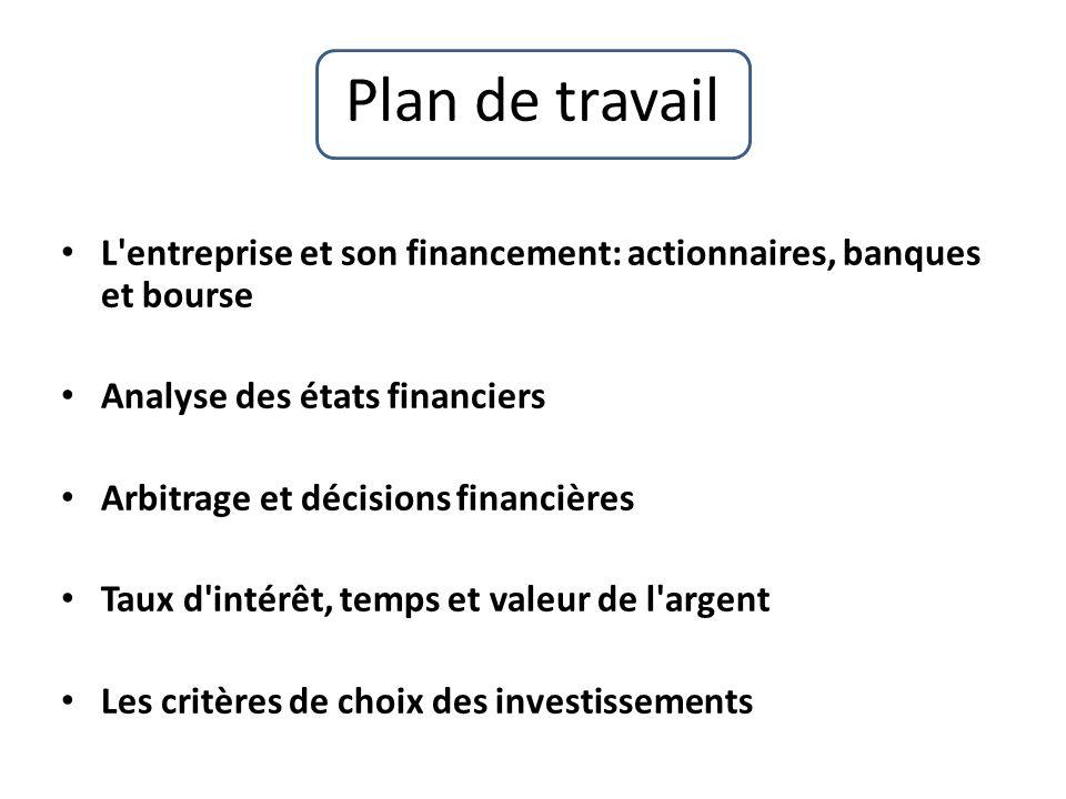 Plan de travail L entreprise et son financement: actionnaires, banques et bourse. Analyse des états financiers.