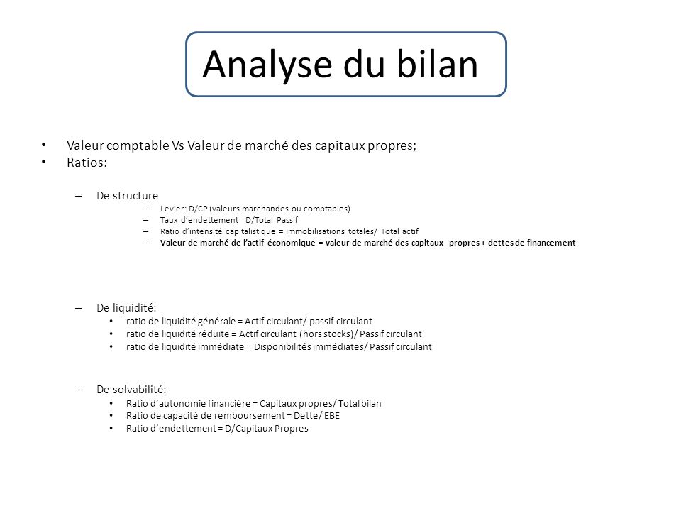 Analyse du bilan Valeur comptable Vs Valeur de marché des capitaux propres; Ratios: De structure.