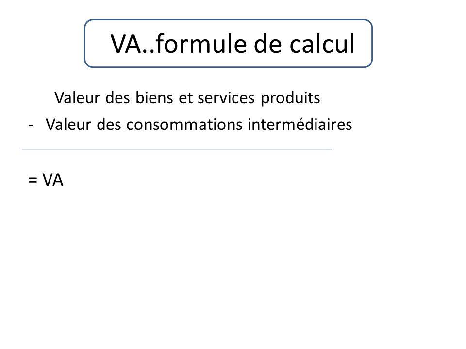 VA..formule de calcul Valeur des biens et services produits = VA