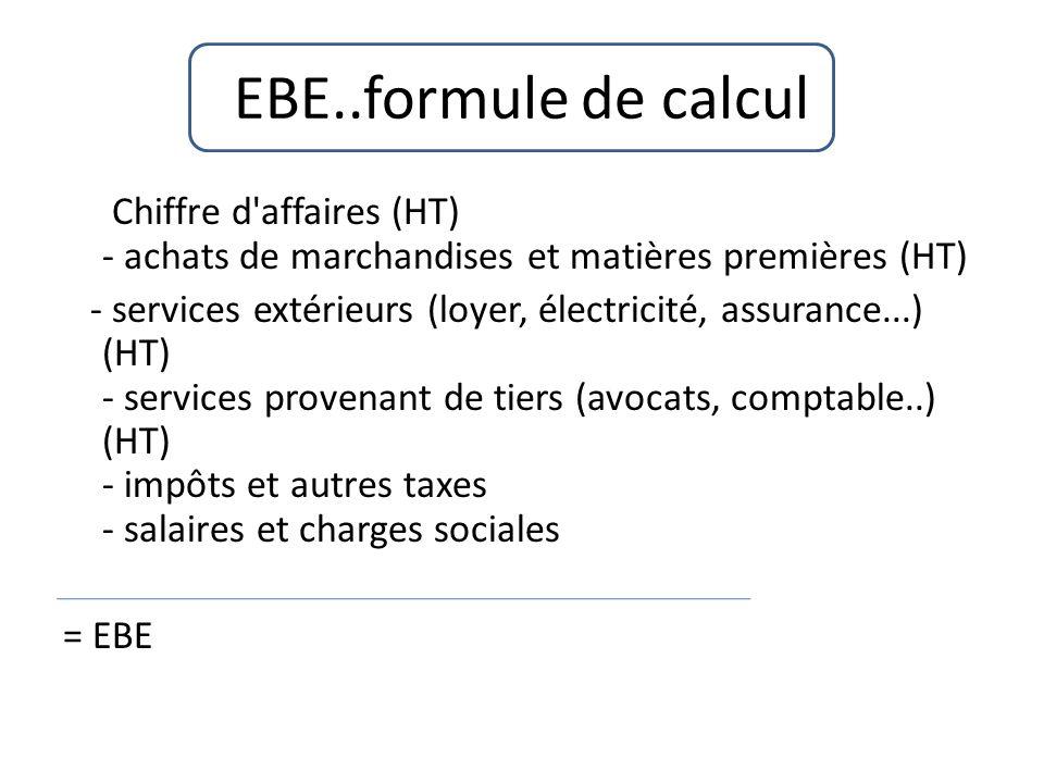 EBE..formule de calcul Chiffre d affaires (HT) - achats de marchandises et matières premières (HT)