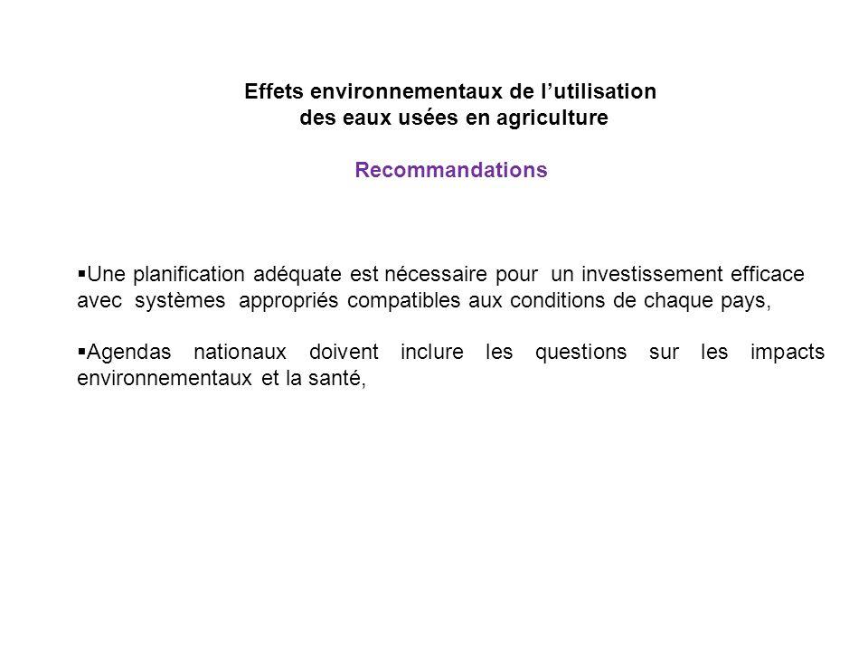 Effets environnementaux de l'utilisation des eaux usées en agriculture
