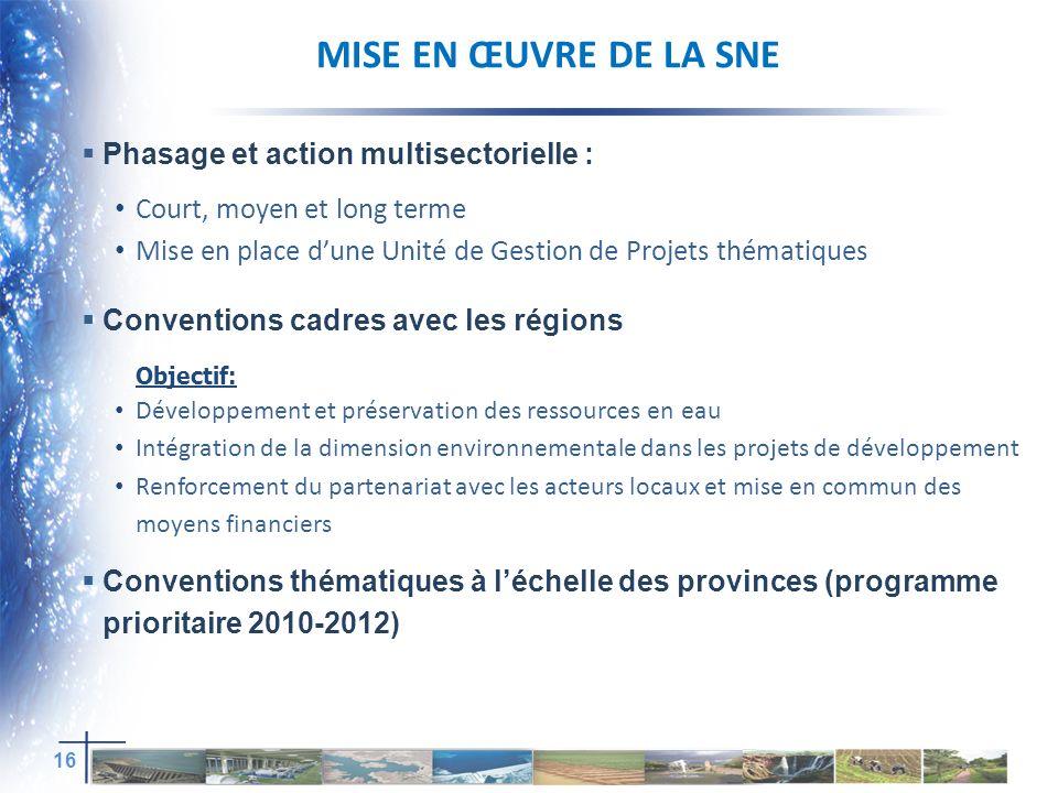 Mise en œuvre de la sNe Phasage et action multisectorielle :