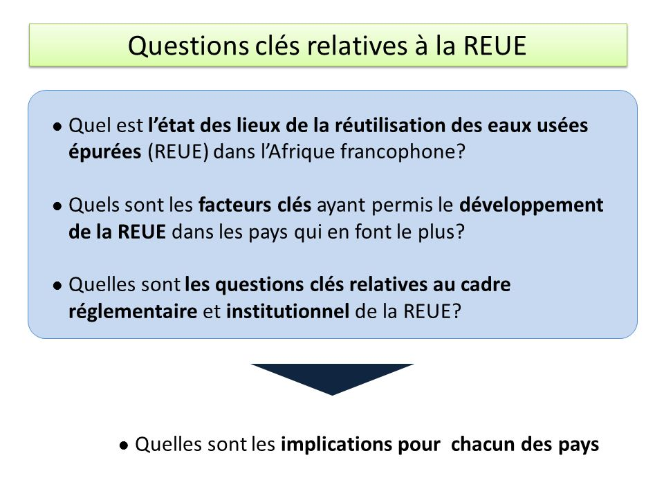 Questions clés relatives à la REUE