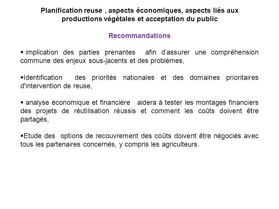 Planification reuse , aspects économiques, aspects liés aux productions végétales et acceptation du public