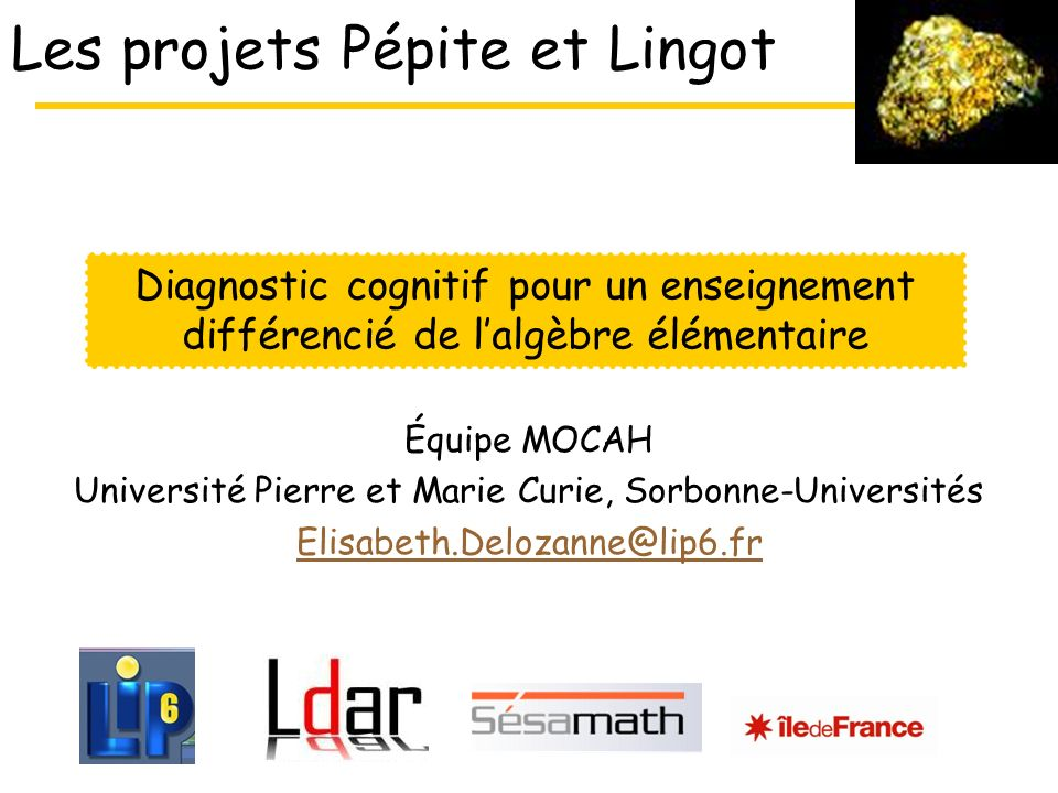 Les projets Pépite et Lingot