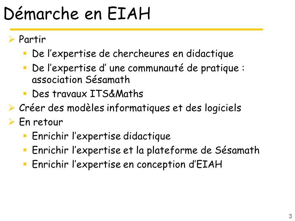 Démarche en EIAH Partir De l'expertise de chercheures en didactique