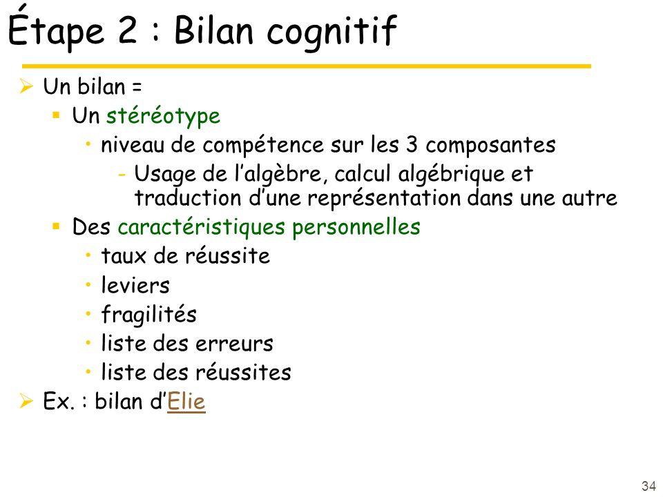Étape 2 : Bilan cognitif Un bilan = Un stéréotype