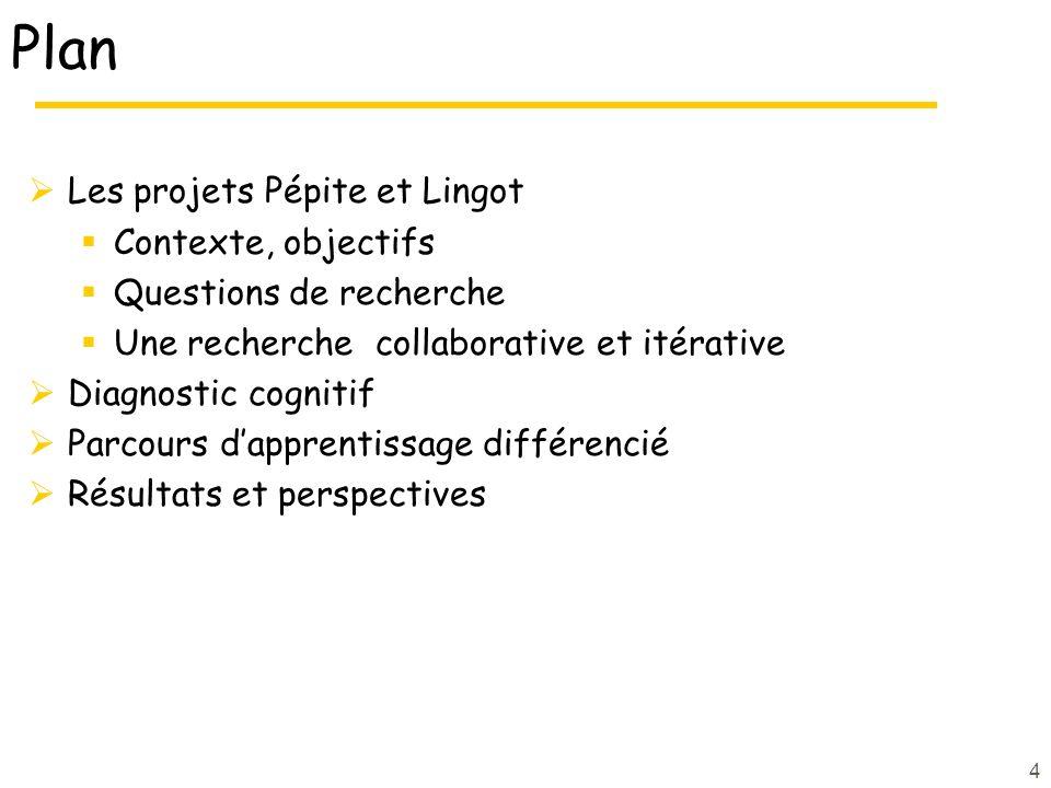 Plan Les projets Pépite et Lingot Contexte, objectifs