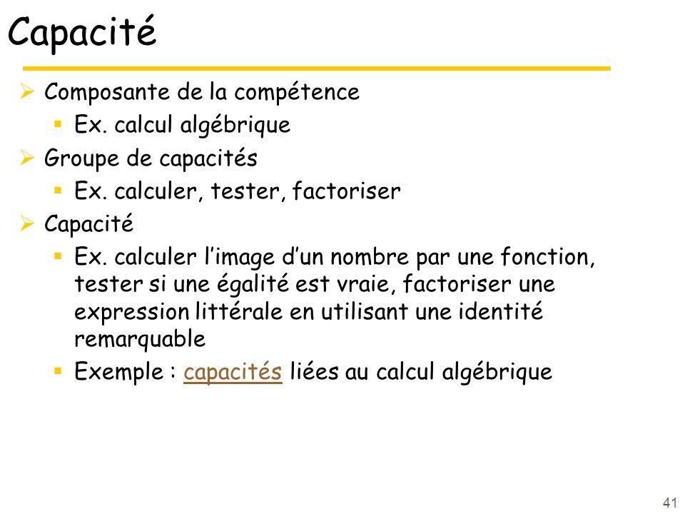 Capacité Composante de la compétence Ex. calcul algébrique