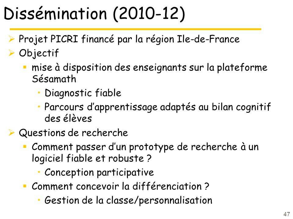 Dissémination (2010-12) Projet PICRI financé par la région Ile-de-France. Objectif. mise à disposition des enseignants sur la plateforme Sésamath.