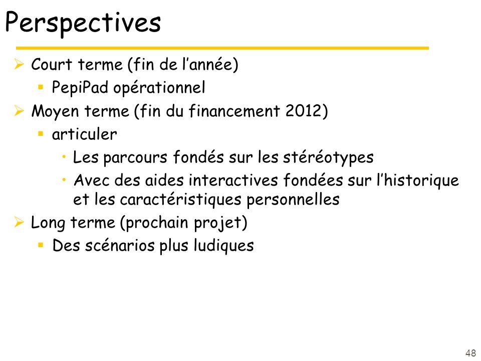 Perspectives Court terme (fin de l'année) PepiPad opérationnel