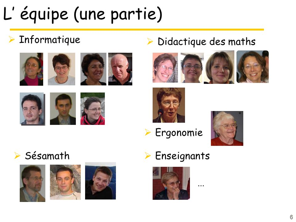 L' équipe (une partie) Informatique Didactique des maths Ergonomie