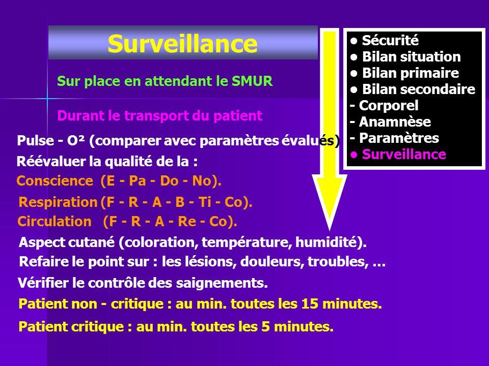 Surveillance • Sécurité • Bilan situation • Bilan primaire