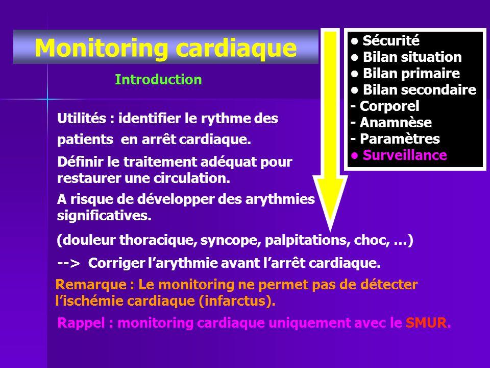 Monitoring cardiaque • Sécurité • Bilan situation • Bilan primaire