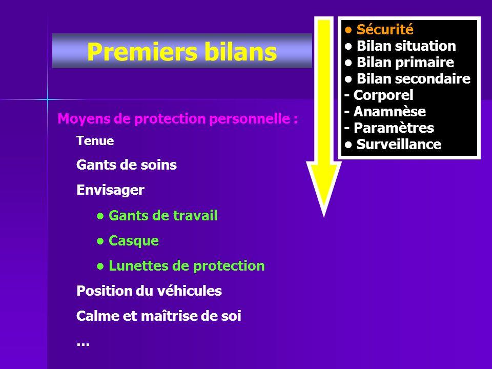 Premiers bilans • Sécurité • Bilan situation • Bilan primaire