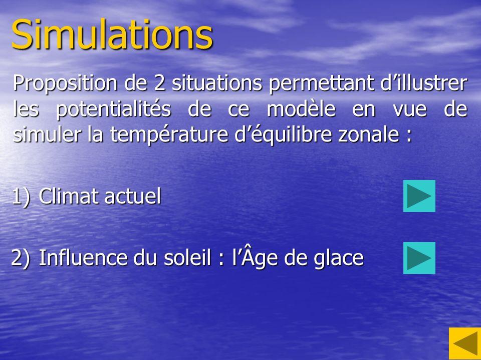 Simulations Proposition de 2 situations permettant d'illustrer les potentialités de ce modèle en vue de simuler la température d'équilibre zonale :
